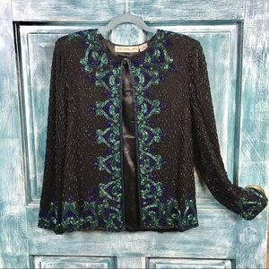 Vintage Scala Beaded Evening Jacket/Silk/Petite L